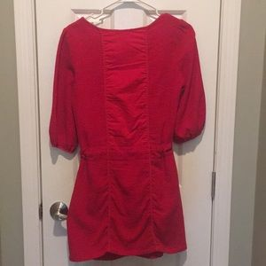 Esley Dresses - Red dress with draw-string waist